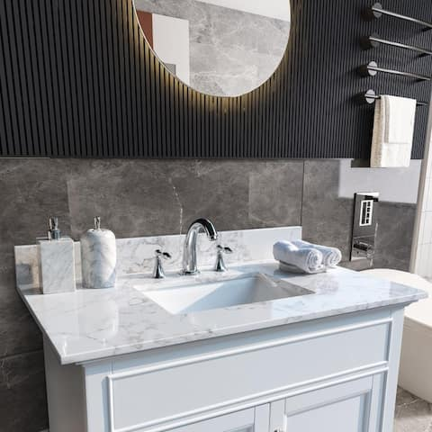 Carrara White Engineered Stone Vanity Top with Rectangle Undermount Sink