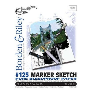 "Borden & Riley - #125 Marker Sketch Pure Bleedproof Paper Pad - 9"" x 12"" -50 Shts./Pad"