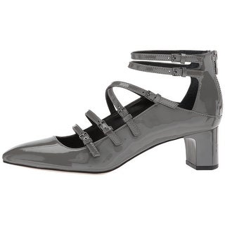 Calvin Klein Womens Madlenka Patent Closed Toe Ankle Strap Classic Pumps