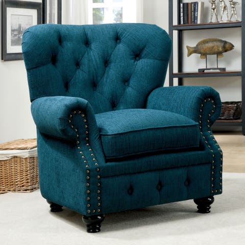 Furniture of America Mofi Traditional Linen Fabric Tufted Armchair