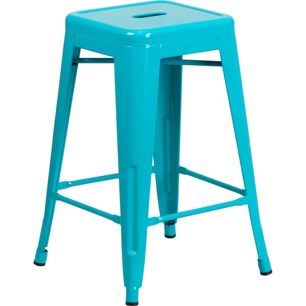 Brimmes 24'' High Backless Crystal Teal-Blue Indoor/Outdoor/Patio/Bar Counter Height Stool