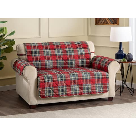 ITS Tartan Plaid Secure Fit Loveseat Cover