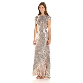 Badgley Mischka Blush Cap Sleeve Sequin Cowl Back Evening Gown Dress