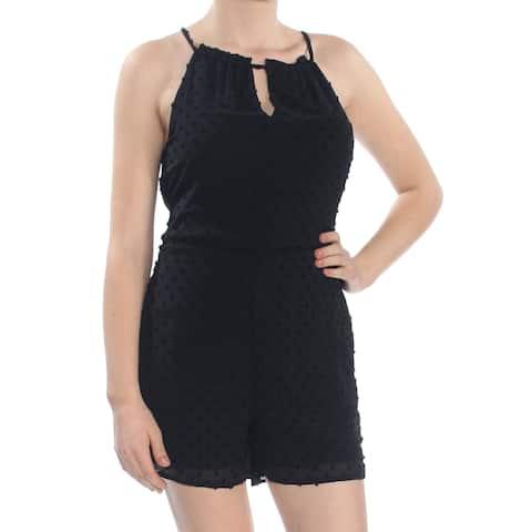 BAR III Womens Black Swiss Dot Sleeveless Halter Cocktail Romper Size: M