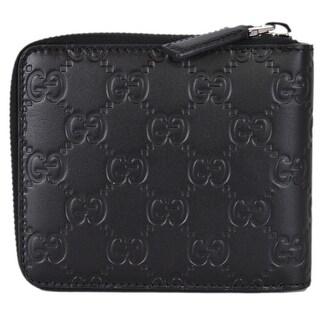 "Gucci 473964 Black Leather GG Guccissima Zip Around Small Wallet - 5: x 4"""