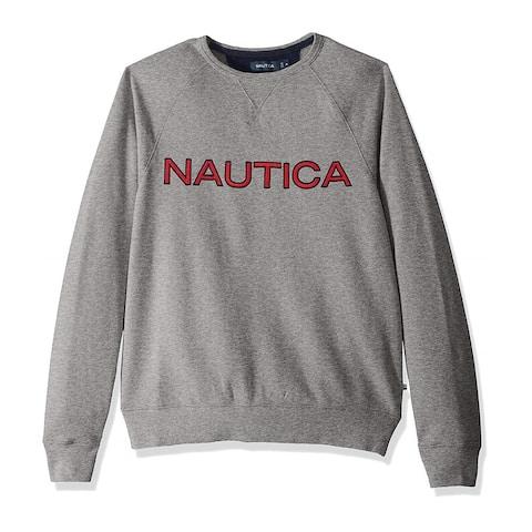 Nautica Mens Graphic Crew Sweatshirt, Grey, XX-Large