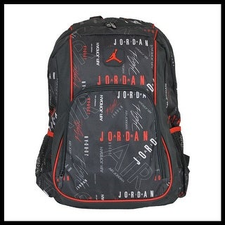 Nike Air Jordan Jumpman Signature Logo Black & Red Print School Backpack