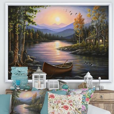 Designart 'Campfire Stories' Lake House Framed Art Print