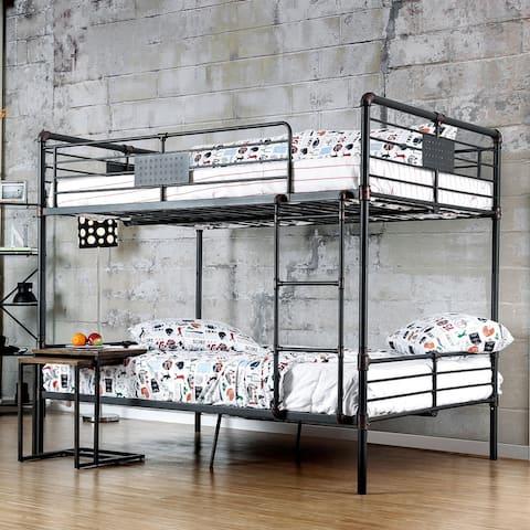 Furniture of America Wini Industrial Black Full/Full Metal Bunk Bed