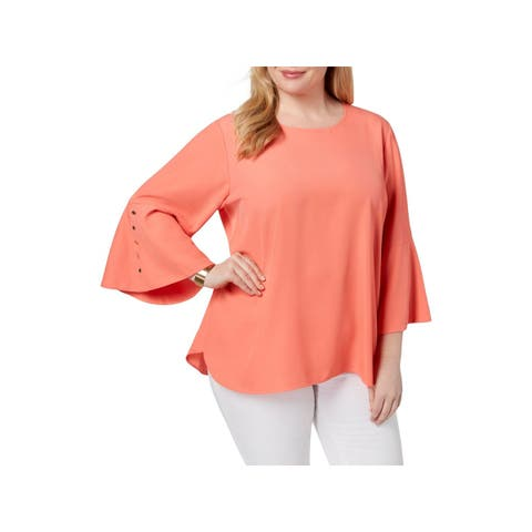 Calvin Klein Womens Plus Blouse Button Bell Sleeves
