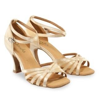 Sansha Adult Light Tan Satin Upper Heeled Regina Ballroom Shoes Womens