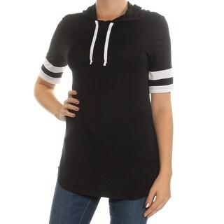 Womens Black Striped Raglan Crew Neck Top Size M