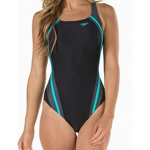 Speedo Womens Swimwear Black Aqua Size 14 Hydrobra Splice One-Piece
