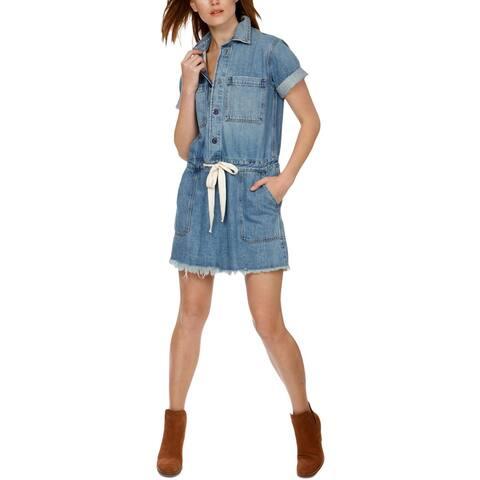 Lucky Brand Womens Midi Dress Freyed Denim