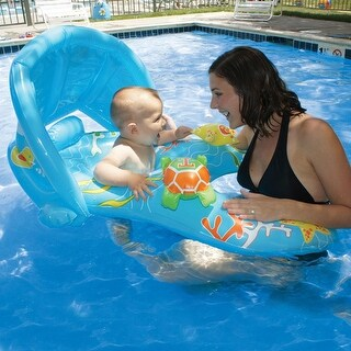 """40"""" Baby Blue Mommy & Me Baby Rider Learn-to-Swim Pool Float with Adjustable Canopy"""