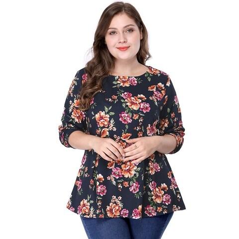 Women's Plus Size Crew Neck Long Sleeves Floral Print Peplum Top