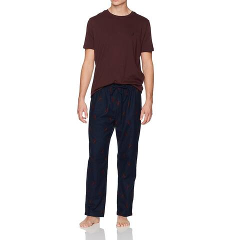 Nautica Mens Sleepwear Blue Red Size Large L Lobster Pajama Sets Cotton