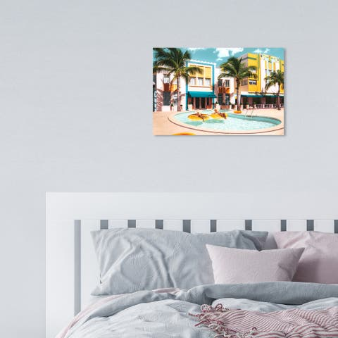 Oliver Gal 'Yellow Miami' Glam Yellow Wall Art Canvas Print