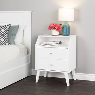 Link to Prepac Milo Mid Century Modern 2-Drawer Nightstand with Angled Top Similar Items in Bedroom Furniture