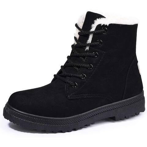 Susanny Suede Flat Platform Sneaker Shoes Plus Velvet Winter Women's Lace Up Black Cotton Snow Boots - 4