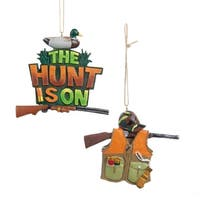 "3.5"" Brown, Olive and Hunter Green Duck Hunting Christmas Ornament"