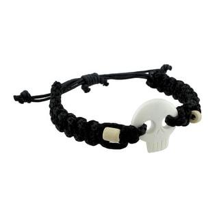 Braided Black Nylon Cord Adjustable White Skull Necklace