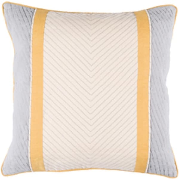 """20"""" Gray and Cream Contemporary Design Square Throw Pillow - Down Fillers"""
