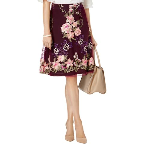 ECI Womens A-Line Skirt Embroidered Floral - 8