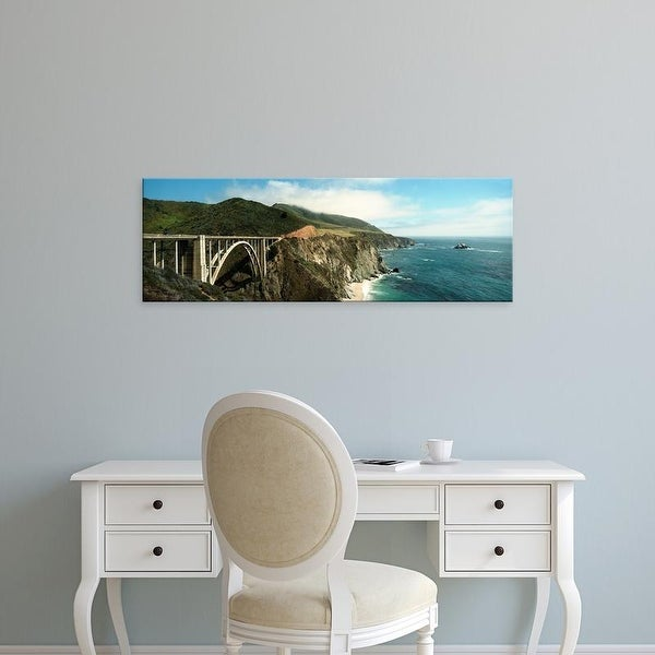 Easy Art Prints Panoramic Image 'Bridge, hills at coast, Bixby Bridge, Highway 101, Big Sur, California' Canvas Art
