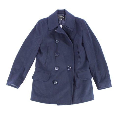 J. Crew Mens Blue Size Large L Double Breast Peacoat Wool Blend