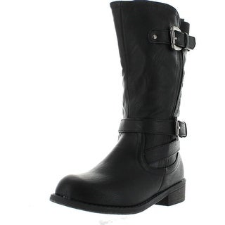 Lucky Top Fay-4K Children Girl's Classical Block Heel Buckle Knee High Riding Boots