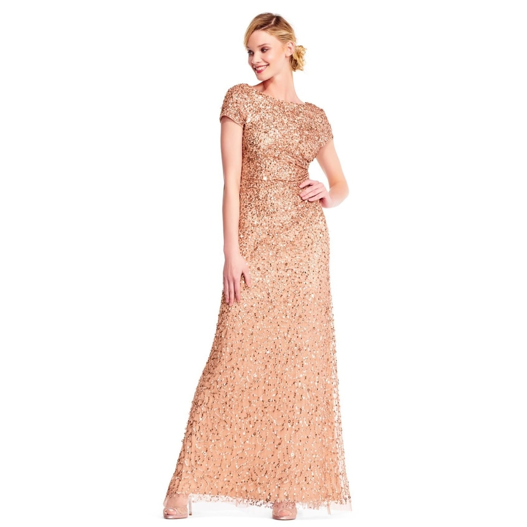 fe309df262d39f Shop Adrianna Papell Women's Short Sleeve Sequin Beaded Gown Cowl Back, Rose  Gold, 14 - Free Shipping Today - Overstock - 24121126