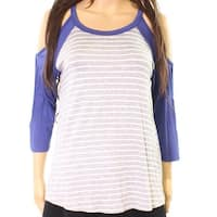 Moa Moa Gray Cold-Shoulder Striped Women's Size Small S Knit Top