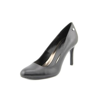 Calvin Klein Lana Women Round Toe Leather Black Heels
