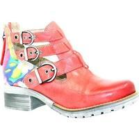 Dromedaris Women's Kelsy Flower Buckle Boot Coral Soft Waxy Leather/Suede