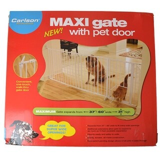 "Carlson Pet Gates Maxi Walk Thru Gate with Pet Door - Regular - 34.5""-38""W x 31""H - (50""-59"" Wide with Extension)"