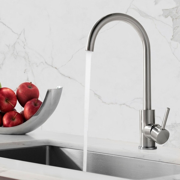 Stainless Steel Kitchen Faucet, Single Handle Bar Faucet with 360 Degree Rotable High-arc Gooseneck Spout. Opens flyout.