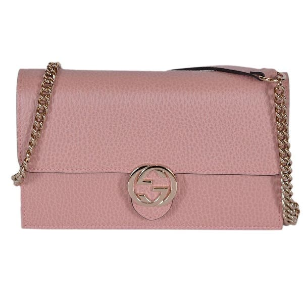 8b450ba2698348 Gucci 510314 Pink Leather Interlocking GG Crossbody Wallet Bag Purse Clutch  - Soft Pink - 7.5