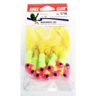 Eagle Claw Laker Maribou Jig 1/16 10ct Pink/Chartreuse/Yellow