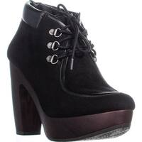 Lucky Brand Cendara Lace-Up Ankle Booties, Black Suede - 8.5 us / 38.5 eu