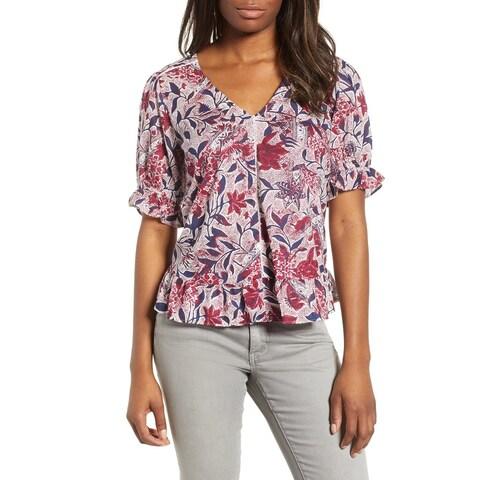 Lucky Brand Purple Womens Size XL Floral Puff Sleeve Peplum Top