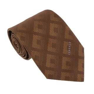 Versace Brown Woven Tonal Check Tie - 60-3.25