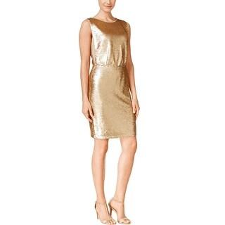 Calvin Klein Womens Party Dress Metallic Sequined