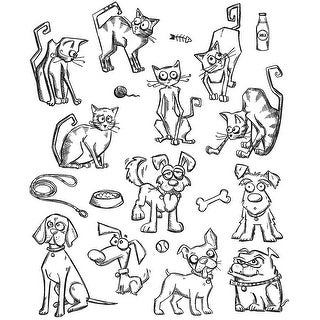 "Tim Holtz Cling Stamps 7""X8.5""-Mini Cats & Dogs"