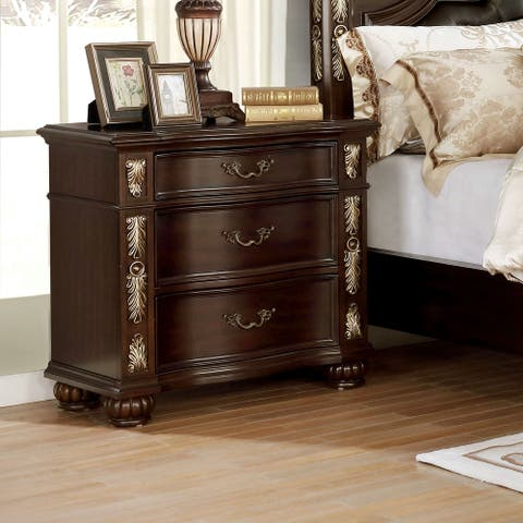 Furniture of America Urex Traditional Brown Cherry 3-drawer Nightstand