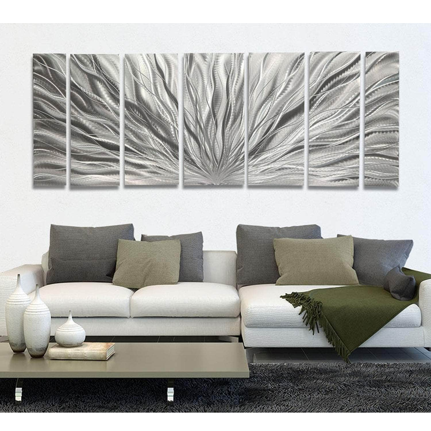 Shop Black Friday Deals On Statements2000 Modern Metal Wall Art Abstract Silver Decor By Jon Allen Silver Plumage Overstock 12447245 Silver Plumage