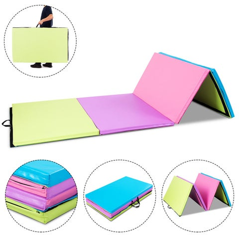 """Costway 4'x10'x2"""" Portable PU Gymnastics Mat Folding Gym Fitness Exercise Multicolor New"""