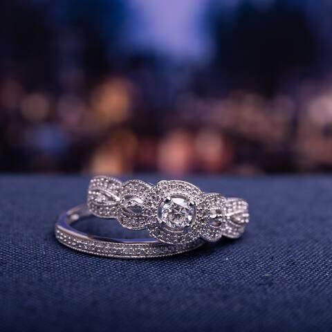 Miadora 10k White Gold 1/2ct TDW Diamond Halo Anniversary-style Bridal Ring Set