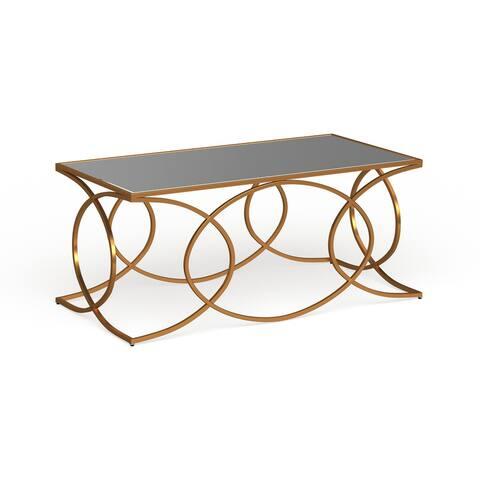 Milani Gold Geometric Cocktail Table w/ Mirrored Top