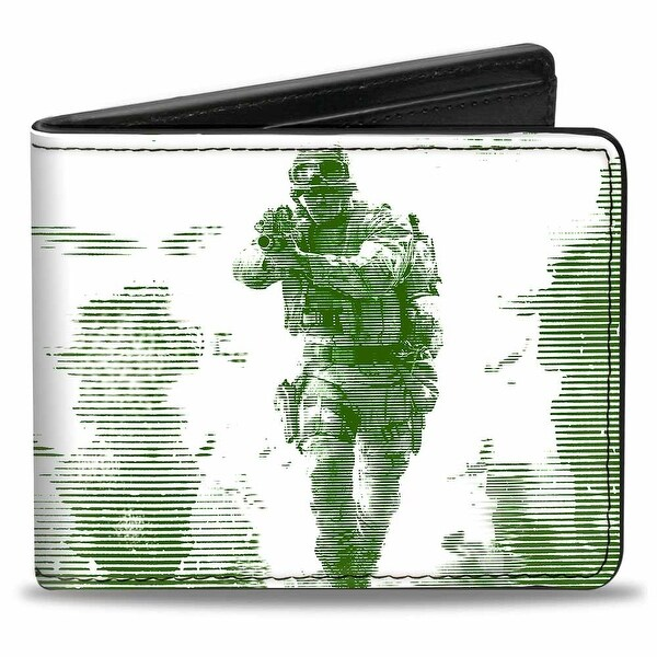 Call Of Duty Modern Warfare Soldier Pose Box Cover White Black Greens Bi Bi-Fold Wallet - One Size Fits most